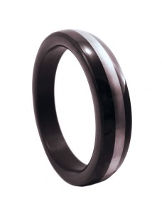 Black Cock Ring With Stainless Steel Band