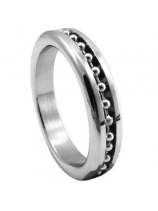 Stainless Steel Cock Ring With Ball Chain Inlay