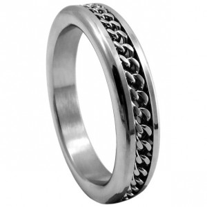 Stainless Steel Cock Ring With Chain Link Inlay