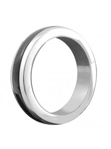 Stainless Steel Cock Ring with Black Band