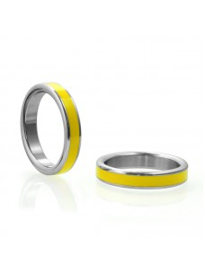 Stainless Steel Cock Ring with Yellow Band