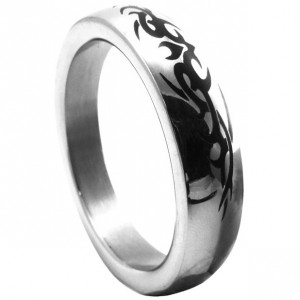 Polished Stainless Steel Cock Ring Inlaid Tribal Design