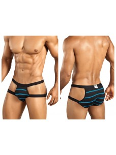 1235 Preppy Stripe Brief Black Blue