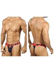 1303 Slit Thong Black Coral