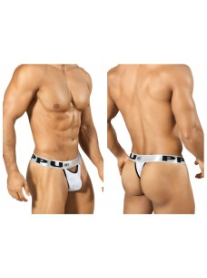 1303 Slit Thong White Silver