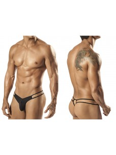 1551 Palmetto Strap Thong Black