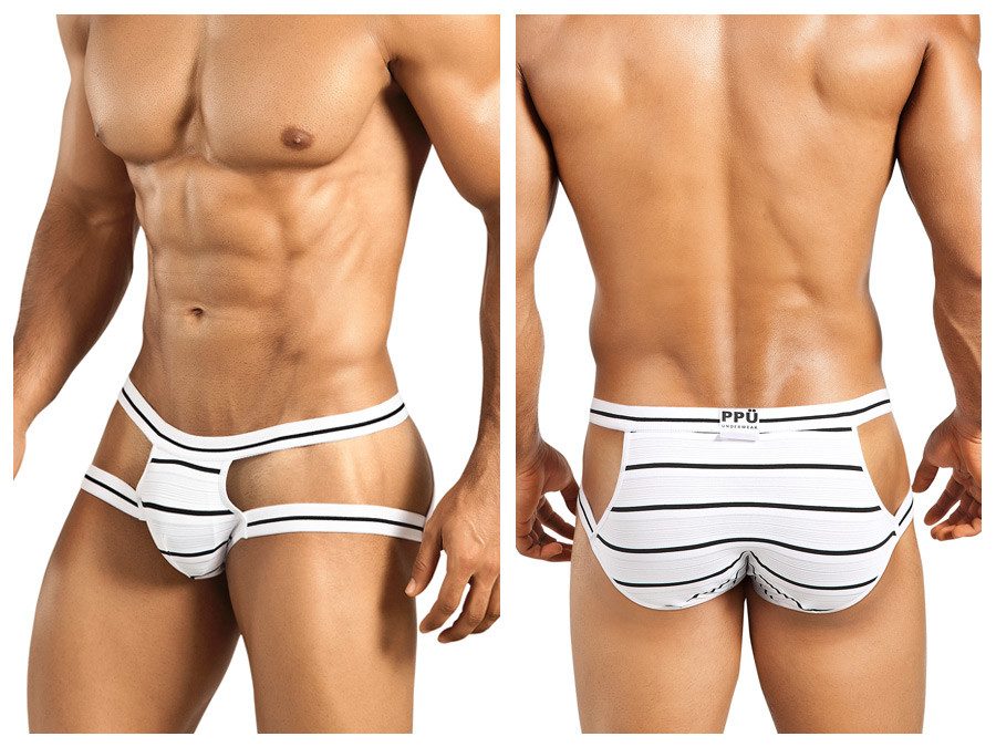 1235 Preppy Stripe Brief White Black