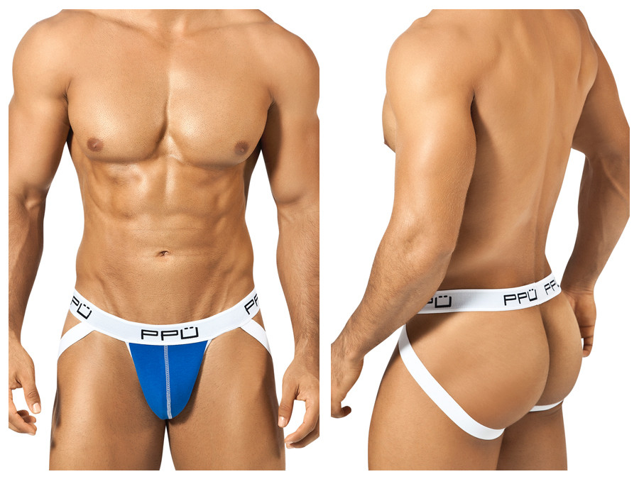 1308 Cotton Sports Jockstrap Blue White