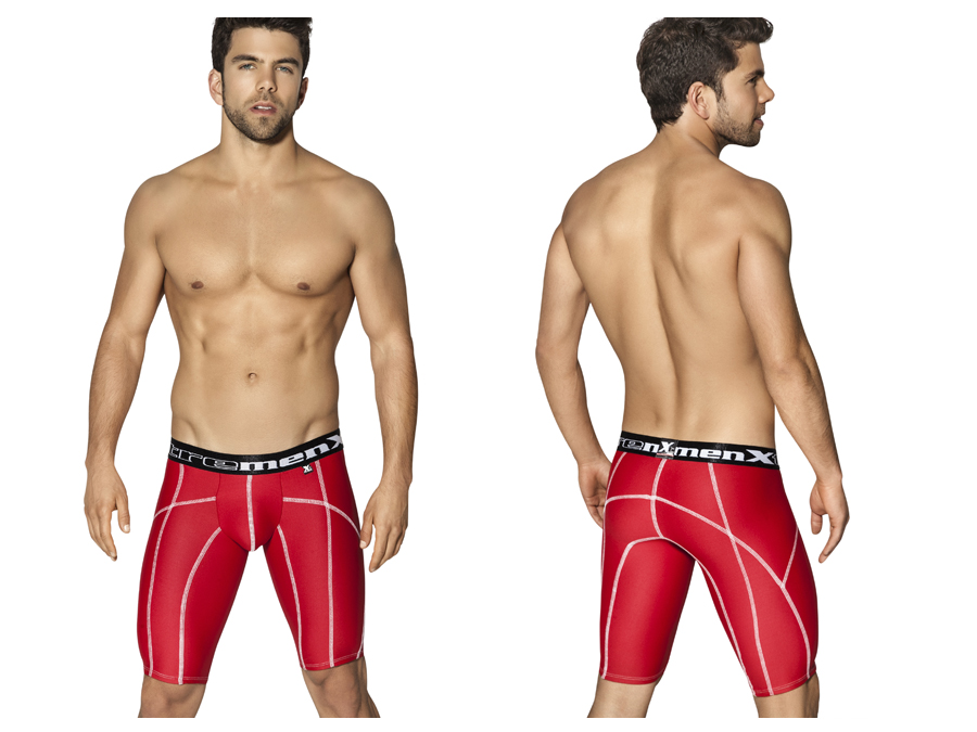 Xtremen Long Sports Boxer Red With Decorative Stitching